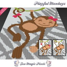 Playful Monkeys c2c graph crochet pattern bundle; instant PDF download; baby…