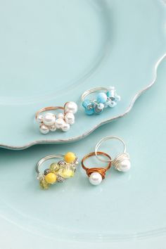 Wire & Bead Rings #Crafts