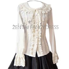 Fashion Womens Vintage Long Sleeves Bowknot Lace Sweet Classic Lolita Blouse Beige