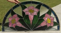 Tulip Half Moon Stained Glass Window Panel by SunshineSuncatchers