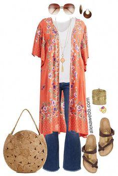 Plus Size Kimono Outfit – Flare Jeans, Birkenstock Sandals, and Jute Bag – Plus… – plus size fashion for women Look Kimono, Kimono Outfit, Birkenstock Outfit, Plus Size Kimono Dress, Curvy Fashion, Boho Fashion, Fashion Design, Fashion Top, Fashion 2020