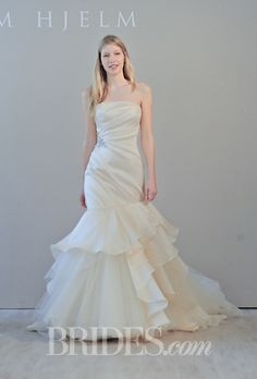 Jim Hjelm - Fall 2014. Style 8462, strapless peach silk satin faced organza trumpet wedding dress with a draped bodice and cascade skirt with tulle accents, Jim Hjelm
