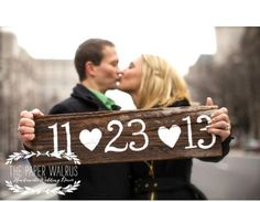 Rustic Wooden Sign Save The Date Photo Idea. See more here: 27 Cute Save the Date Photo Ideas | Confetti Daydreams ♥  ♥  ♥ LIKE US ON FB: www.facebook.com/confettidaydreams  ♥  ♥  ♥ #Wedding #SaveTheDate #PhotoIdeas