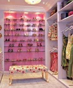 Need more closet space? Consider making sure your new home or remodel includes a walk in closet. A walk-in closet can hold all your clothing and shoes neat and tidy within a large room to walk around. Custom Closet Design, Walk In Closet Design, Wardrobe Design, Closet Designs, Pink Closet, Closet Colors, Walking Closet, Armoire Rose, Home Depot Closet