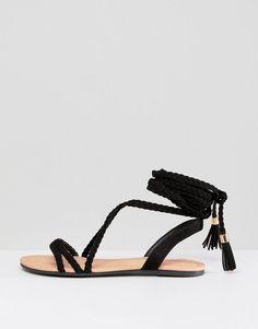 d19e5fa9c7343b FAYLA Tie Leg Plaited Flat Sandals
