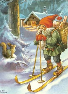 While most Gnomes wouldn't admit to this household secret, Gnomes have an enormous capacity to read the minds of upright squirrels. Vintage Christmas Cards, Christmas Pictures, Vintage Cards, Vintage Postcards, Danish Christmas, Scandinavian Christmas, Illustration Noel, Christmas Illustration, Christmas Gnome