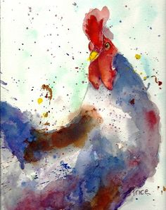 Chicken Rooster Watercolor Abstract Painting. $25.00, via Etsy.