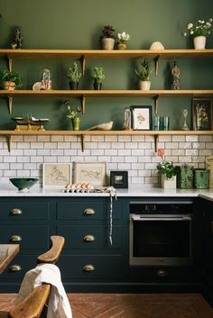 Red and Green Kitchen Idea. Red and Green Kitchen Idea. 31 Green Kitchen Design Ideas Paint Colors for Green Kitchens Devol Kitchens, Home Kitchens, Dream Kitchens, Small Kitchens, Beautiful Kitchens, Home Decor Kitchen, New Kitchen, Kitchen Modern, Green Kitchen Cupboards