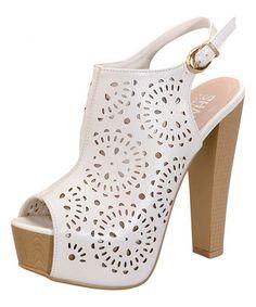 Look at this #zulilyfind! White Lora Platform Slingback Sandal by Shake Footwear #zulilyfinds