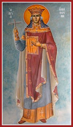 Greek Orthodox Icon of St Catherine of Alexandria Religious Images, Religious Icons, Religious Art, Byzantine Icons, Byzantine Art, St Catherine Of Alexandria, Saint Katherine, Christian Religions, Art Icon