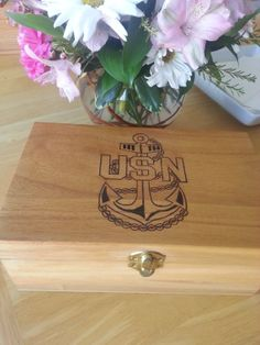 US Navy  USN  Navy Anchor  Keepsake Box by Five1Designs on Etsy