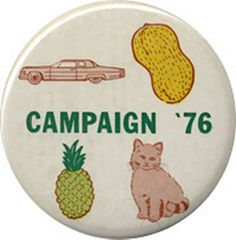 button showing candidates in 1976 presidential election: Ford, Carter, Dole and Mondale (Fritz the Cat)