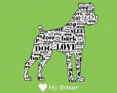 PERSONALIZED Boxer Dog Wordart Print 8 X 10 Word Cloud Dog Print Pet Gifts