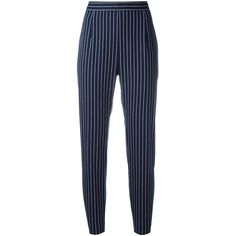 Pierre Balmain striped cropped trousers (3.206.080 IDR) ❤ liked on Polyvore featuring pants, capris, bottoms, trousers, blue, striped trousers, pierre balmain, cropped pants, striped pants and blue stripe pants