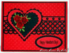 luv this handmade card from Kreative Korner By Kelly ... dramatic look ... red with black adornments ... die cut hearts, lattice strip and sentiment oval ...
