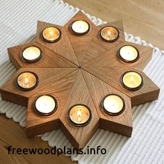 Christmas Centerpieces With Candles Tea Lights - Christmas Christmas Star Decorations, Christmas Centerpieces, Christmas Ideas, Woodworking Candle Holder, Lighted Centerpieces, Wooden Candle Holders, Wooden Tea Light Holder, T Lights, Diy Wood Projects