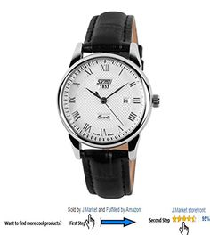 JMarket 30 Meters Waterproof Roman Numeral Wrist Business Casual Watch Quartz Watch Couples Watches With Date Function with Genuine Leather Band Women Black -- Check out the image by visiting the link.