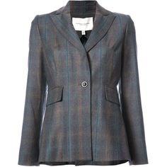 Carolina Herrera plaid single button blazer ($3,660) ❤ liked on Polyvore featuring outerwear, jackets, blazers, grey, gray jacket, gray blazer, carolina herrera, grey jacket and blazer jacket