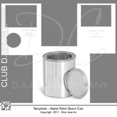 Printable Template for metal paint can - quart size.  Altered tin pattern, do it yourself paint can wrappers.  Gift ideas for kids, moms, teachers. Free Printables, Free Graphics, Free Kits, Free Digital Clip Art, Graphics and Backgrounds for Scrapbooking, Gina Jane Designs - DAISIE Company
