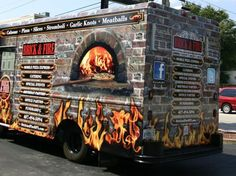 Brick & Fire Concession Trailer, Food Trailer, Mini Camper, Foodtrucks Ideas, Mobile Cafe, Food Truck Business, Cafe Concept, Food Vans, California Food