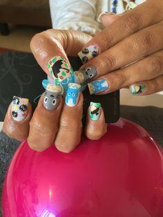 Acrylic nails, nails art, totoro nails  https://www.youtube.com/watch?v=fVnXA1VHEiI