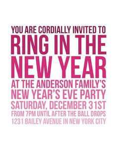 New Year's Eve Party Invitations  Printable Digital by jandpaper. , via Etsy.