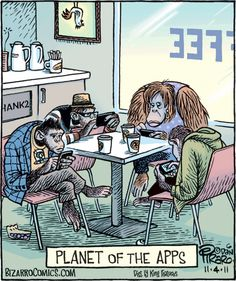 Dan Piraro - Bizarro Comics - Planet of the Apps Funny Cartoon Pictures, Cartoon Jokes, Funny Cartoons, Funny Comics, Funny Shit, You Funny, Funny Jokes, Hilarious, Tgif Funny