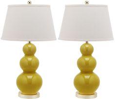 Safavieh Mid-Century Triple Gourd Ceramic Table Lamp in Mustard Gold, Set of 2 | $229.98