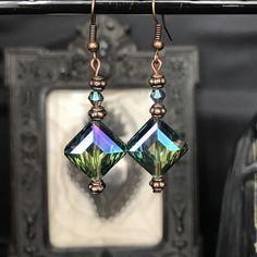 Boucles d'oreilles  cuivre  cristal Swarovski carré