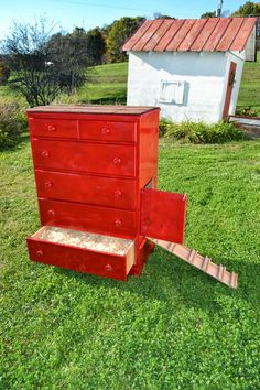 Would like to find an old dresser and incorporate the drawers as nesting boxes into a funky Chicken coop wall