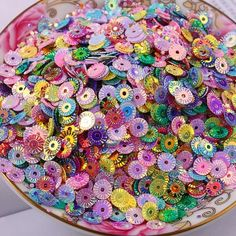 300pcs Pvc Sequins Oval Egg Shape Multicolor Plastic Loose Sequins Dress Home Party Wedding Decor Sequins Home & Garden Sequins