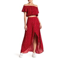 LOVE FIRE Faux Wrap Maxi Skirt ($23) ❤ liked on Polyvore featuring skirts, red star, long tulip skirt, tulip maxi skirt, hi low skirt, red high low skirt and high low skirt