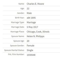 Looking for info on my Grandmother's only sibling. Bible registry is Charles Edward Vance Moore. Lived in Chicago on the 1920 Census and that's the end of that.