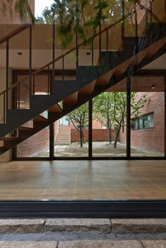 Image 21 of 31 from gallery of Fortress Brick House / Wise Architecture. Photograph by Roh Kyung Architecture Photo, Brick, The Neighbourhood, Stairs, House Design, Gallery, Building, Portugal, Home Design