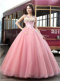 スクープネックフラワーAラインジッパー床まで届く長さカラードレス