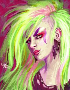 Pizzaz from Jem and the Holograms. Part of a series of portraits involving nerd culture. Cyberpunk 2020, Jem And The Holograms, Saturday Morning Cartoons, Halloween Looks, Disney Cartoons, Samhain, Cartoon Art, Wicked, Nostalgia
