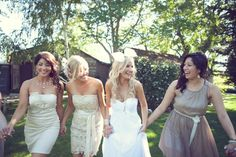 mix and match neutral bridesmaid dresses  Photography by http://closertolovephotography.com