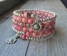 Pandora Jewelry OFF!>> Summer Sunflower Pink Jade Multi Coil Memory by McHughCreations Memory Wire Jewelry, Memory Wire Bracelets, Pandora Bracelets, Handmade Bracelets, Handmade Jewelry, Memory Wire Rings, Pandora Jewelry, Bracelet Fil, Wire Wrapped Bracelet
