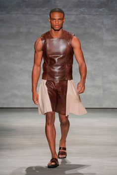 Gladiator meets kilt... love! His entire collection is so raw and masculine with just the right tweaks in design! ETXEBERRIA S/S15 #ss15 #nyfw
