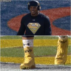 Yup, Cam Newton was having as much fun as ever before Super Bowl Cam Newton Superman, Superman Shirt, Nfl Playoffs, Super Bowl, Baseball Cards, Cleats, Yup, Shirts, Football Shoes