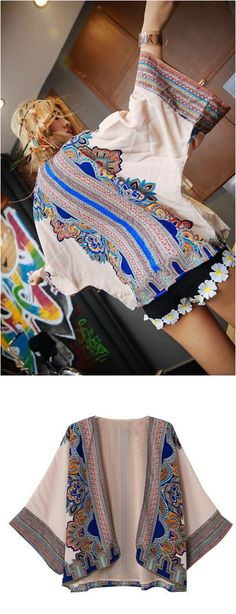 A Bali Floral Print Kimono Cardigan is now available at $35 from Pasaboho. This cardigan exhibit brilliant colours with unique printed patterns. :: boho fashion :: gypsy style :: hippie chic :: boho chic :: outfit ideas :: boho clothing :: free spirit :: fashion trend :: embroidered :: flowers :: floral :: lace :: summer :: fabulous :: love :: street style :: fashion style :: boho style :: bohemian :: modern vintage :: ethnic tribal :: boho bags :: embroidery dress :: skirt :: cardigans