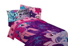 My Little Pony Twin Sheet Set Stars Are Out Purple Blue Bedding Gift #Hasbro