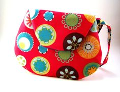 Small Bright Pink Clutch Purse with Colorful by TrampLeeDesigns, $16.00