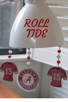 Alabama Crimson Tide Home Decor Ornaments. These magnetic Roll Tide Ornaments feature a magnetic tip! Dress up those boring metal desk lamps!