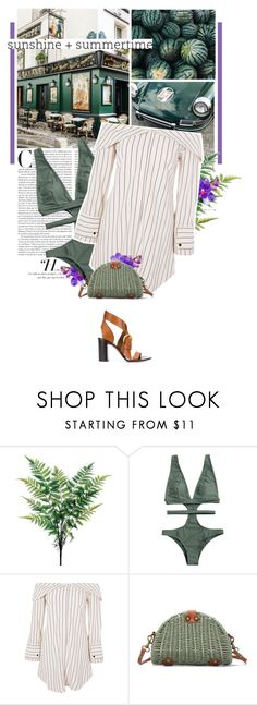 """green day."" by eve-angermayer ❤ liked on Polyvore featuring MIJA, Nicole Miller, WALL, Topshop, Chloé, Summer, GREEN, beachstyle, eveangermayer and angermayerevelin"