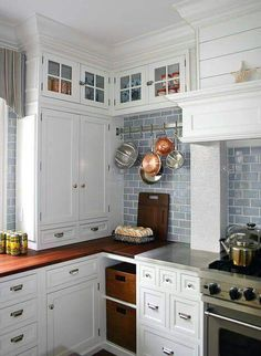 Love the blue subway tile. Blue or green that is the question.