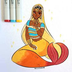 Look t this beauty! day 27 of ! jewelry and sparkles~✨copic and ink Black Mermaid, Mermaid Art, Mermaid Drawings, Art Drawings, Fantasy Creatures, Mythical Creatures, Character Art, Character Design, Mermaids And Mermen