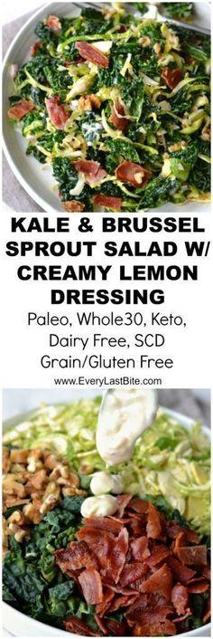 Kale & Brussel Sprout Salad with Creamy Lemon Dressing - Paleo Salad Recipes - Roasted Brunch Recipes, Paleo Recipes, Cooking Recipes, Free Recipes, Hamburger Recipes, Lemon Recipes, Dinner Recipes, Kale Brussel Sprout Salad, Paleo Kale Salad