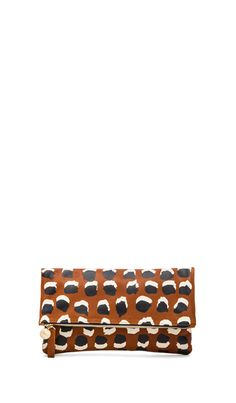 Clare V. Clare Vivier Foldover Clutch in British Tan with Navy