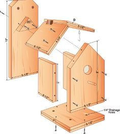 free build your own birdhouse plans. hate the partiotic design/colors on this website but like the idea. free build your own birdhouse plans. hate the partiotic design/colors on this website but like the idea. Easy Wood Projects, Backyard Projects, Woodworking Projects Diy, Woodworking Plans, Project Ideas, Woodworking Joints, Woodworking Classes, Intarsia Woodworking, Popular Woodworking